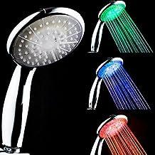 Cuarto de baño 3colores LED ducha cabeza con cambio automático según la temperatura del agua