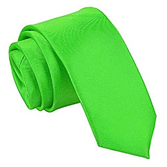 DQT Plain Satin Men's Formal Casual Wedding Skinny Narrow Thin Neck Tie - Apple Green
