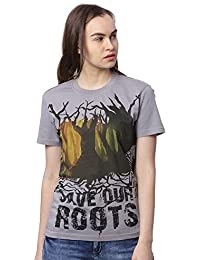 Wolfpack Save Our Roots Grey Round Neck Half Sleeves 100% Cotton Mens/Boys T-Shirt for Nature Lover Save Tree
