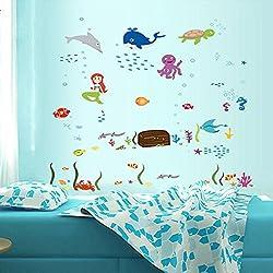 Pegatina Pared Vinilo Decorativo Adhesivo Infantil Decoración Baño Ventana Vidrio Mundo Submarino Tortuga Ballena Sirena Multicolor