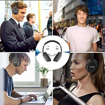 Casque Bluetooth sans Fil Réduction de Bruit Active, AXCEED Casque Pliable ANC Hi-FI Basse Audio Stéréo Écouteurs 12 Heures avec Micro Over- Ear Casque pour iPhone/Huawei/PC/TV de AXCEED