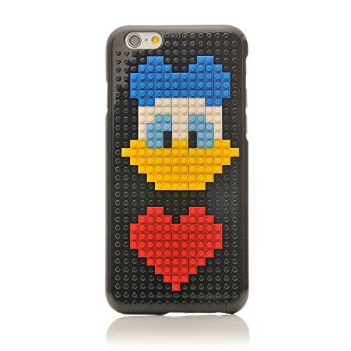 iProtect Apple iPhone 6, 6s DIY Hardcase Schutzhülle mit Bausteinen zum Zusammenstecken - Motiv Pilz Ente mit Herz Blau
