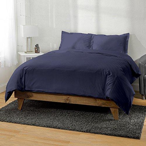 Land Twin-size-bett (Ägyptische Baumwolle mit Fadendichte 400gestreift 3-teiliges Bettbezug exceptionalsheets von ägyptische Baumwolle, atmungsaktiv und bequem, Parent, Parent, Ägyptische Baumwolle, marineblau, Twin)