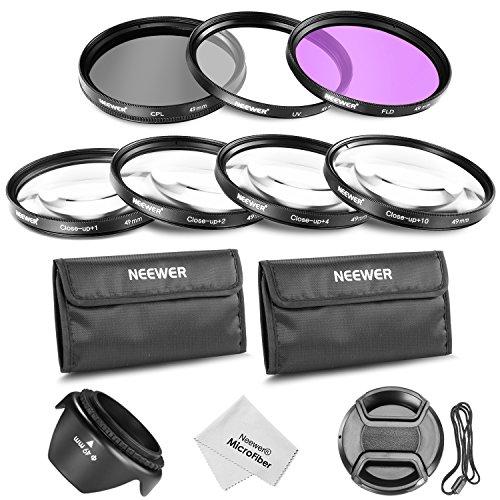 Neewer® 49MM Professionelle Objektiv-Filter und Nahaufnahmen Makro Zubehör-Set für Canon EOS 400D / Xti; 450D / Xsi; 1000D / XS; 500D / T1i; 550D / T2i; 600D / T3i; 650D / T4i; 700D / T5i; 100D, 1100D; Nikon Sony Pentax Samsung Fujifilm und andere DSLR Kameraobjektive mit Filtergewinde 49MM - Mit Filterset (UV, CPL, FLD) + Makro Nahaufnahmen-Set (1, 2, 4, 10) + Filtertragetasche + Tulpen Blume Gegenlichtblende + Zentrum Klemm Objektivdeckel mit Kappe Hüter Leine + Mikrofaser Reinigungstuch Xsi Filter