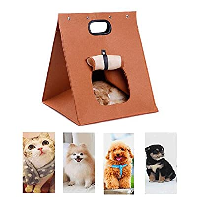 WOHO Pet Cat Dog House Carrier Travel Bag Soft Folding Portable Warm Wool Felt Bed Cave Travel Bag for Cat Dog Puppy Kitten Rabbit Totoro Marmot and Small Cute Animals from HG55
