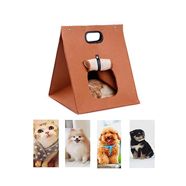 WOHO-Pet-Cat-Dog-House-Carrier-Travel-Bag-Soft-Folding-Portable-Warm-Wool-Felt-Bed-Cave-Travel-Bag-for-Cat-Dog-Puppy-Kitten-Rabbit-Totoro-Marmot-and-Small-Cute-Animals