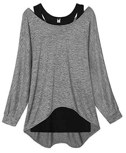 Fledermaus Langarm Baumwolle (ELFIN Damen Langarmshirt Sweatshirt Asymmetrisch Loose Fit Top Shirts Ladies Stretch Longsleeve Jumper Pullover - Extra Weich)