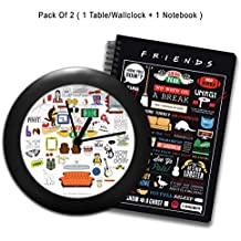MC SID RAZZ Freind's TV Series Doodle Table/Wall Clock and Notebook (Plastic) - Combo Pack of 2