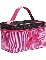 Ularma Sac à cosmétiques Bow Stripe Portable Voyage Trousses de toilette Maquillage Organisateur Titulaire de Sac à main (Rose Rouge)