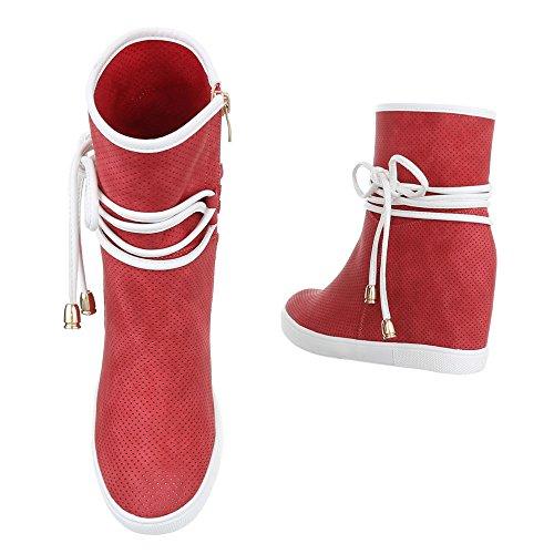 Keilstiefeletten Damenschuhe Plateau Keilabsatz/ Wedge Keilabsatz Reißverschluss Ital-Design Stiefeletten Rot