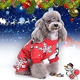 Idefair Natale Pet Vestiti per Cani Gatto, Cappotto con Cappuccio Cucciolo di Neve Cappotto per Cani Giacca per Maglione, Costume per Cani per Taglia Piccola Gatto (XL)