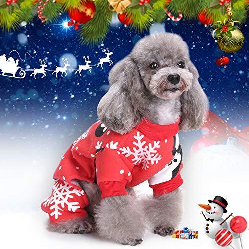 Idefair Weihnachten Pet Katze Hund Kleidung Kleidung, Schneeflocke Puppy Hoodie Hundemantel Pullover Jacke, PET Kostüm für Kleine mittel großer Hund Cat Kitty S M L XL (L) (Großer Hunde Pinguin Kostüm)