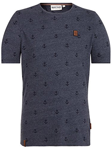 Naketano Male T-Shirt Fuck indigo blue melange