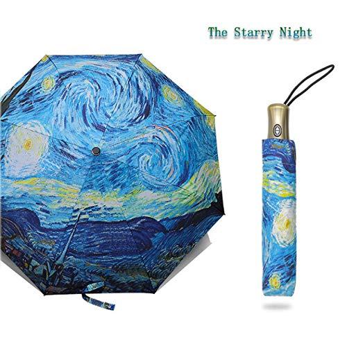 7ccde874b21f Umbrella Folding Female Windproof Paraguas Van Gogh Oil Painting Rain Women  A