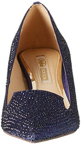 Buffalo Rk 1602-030-a Satin, Chaussures À Talons En T Pour Femmes Avec Bande Bleue (navy)