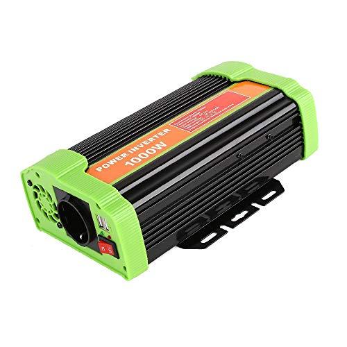 MVPower Spannungswandler 1000W Wechselrichter DC 12V auf AC 220V mit CE\\ROHS Zertifiziert 2 USB Anschlüsse IKS. Zigarettenanzünder Stecker,Autobatterieclips (1000W, 12-220V)