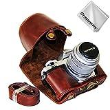 First2savvv Dunkelbraun Premium Qualität Ganzkörper- Präzise Passform PU-Leder Kameratasche Fall Tasche Cover für Olympus OM-D E-M10 Mark III (14-42mm II R Lens) - XJD-EM10 III-C10G11