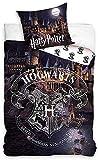 Harry Potter Wende-Bettwäsche Hogwarts 135 x 200 + 80 x 80 cm 100% Baumwolle Linon-Qualität Gryffindor Hufflepuff Ravenclaw Slytherin Ron Weasley Hermine Granger deutsche Größe YKK Reißverschluss