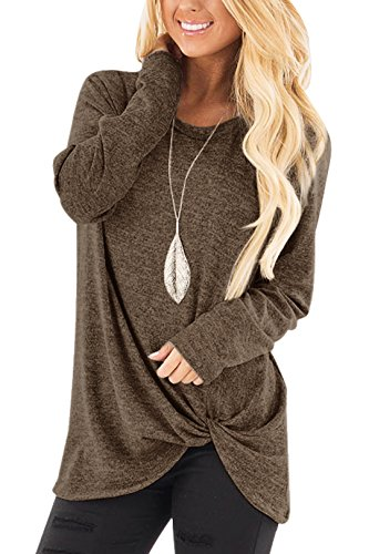 YOINS Femmes T-Shirt Mode Chic Pullover Manche Longue Haut Lâche Blouse Chemise Casual Sweatshirt Top Hauts Basique Décontractés Marron 34 EU(XS)