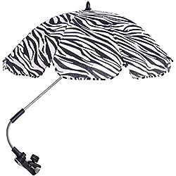 Ombrelle pour Poussette Poussette de bébé réglable Pram Sun Shade UV Parapluie parapluie de protection contre la pluie avec connecteur pivotant pour fauteuil roulant Accessoires poussette Noir+blanc