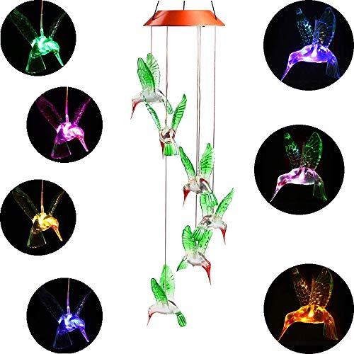 Elisson 1992 Color Farbwechsel LED-Solar-Windspiel, LED-Leuchten, mit sechs Hummingbird, anti-weather Windspiel mit zu Hause, Party, Garten-Dekoration