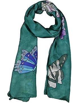 Pañuelo Bufanda de 100% Seda Pintado a Mano - Mariposa con Varios Colores