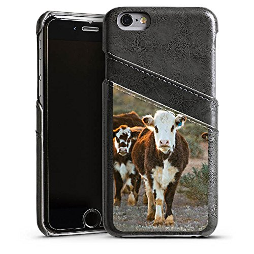 Apple iPhone SE Lederhülle Leder Case Leder Handyhülle Kuh Kühe Kalb Leder Case Sierragrau