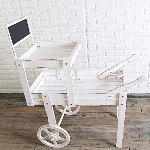 Gartenwagen Doppeldeck Message Board Go-Cart Holz Dekoration Garten Garten Terrasse Blume Bulldozer Wagen 87 * 43 * 112Cm,White
