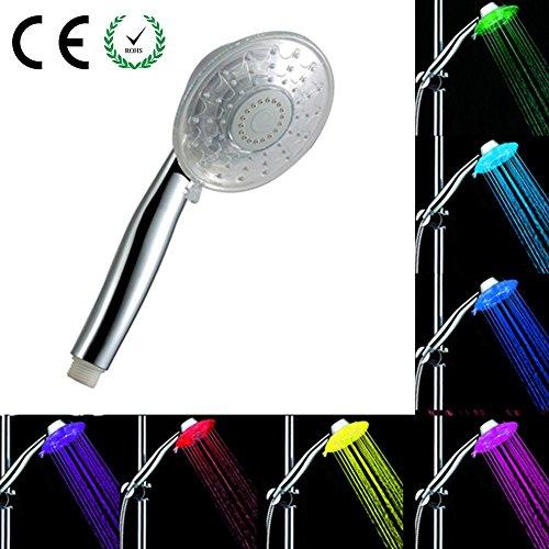 LED Dusche Licht, 7Farben wechseln Licht Handheld LED Dusche Kopf negativer Ion-Brause und Chlor Filter High Druck Spa mit verstellbaren Wasserdurchlauf für Badezimmer