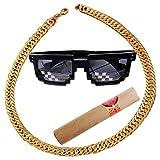 Collar para Hombre Cadena, Chain Rapper Gold, 3 in 1 Hip Hop Rapper Set