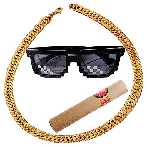 Pimp Kostüm Auffällig - Kette Rapper, Rapper Gold Halsketten, Hip Hop Goldkette, Königskette Rock Punk Biker HipHop Rap, Sonnenbrille Mosaik Neuheit Spezialeffekte Cosplay,3 in 1 Hip Hop Rapper Set