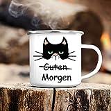 """Wandtattoo-Loft Campingbecher Katze """"Guten Morgen Emaille Tasse/Becher mit Motiv/silberner Tassenrand"""