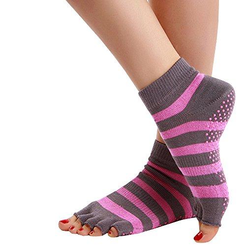 Gemijacka Damen Workout Yoga Pilates Socken Zehenspreizer Socken Übung Sport Ohne Zehen