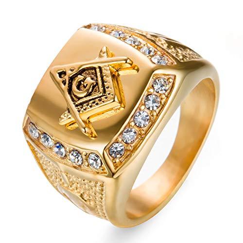 Wibbosad Herren Freimaurer Ag Titan Stahl Diamant Ringe,Größe 54 (17.2) - Diamant Ringe Freimaurer