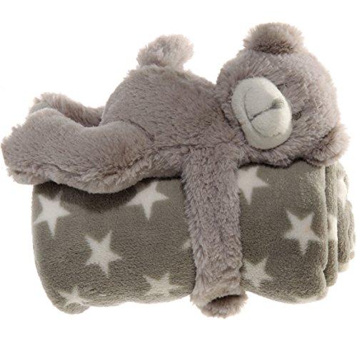 Bada Bing Kuscheldecke Decke Stern 75 x 75 cm GRAU Babydecke Mit Teddybär Kuscheltier Baby Geschenk Geburt 986