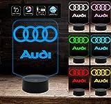 AUDI Lampada a led 7 colori selezionabili da tavolo e scrivania con logo macchina personalizzato a batteria + cavo micro USB da tavolo o scrivania Decorazione della casa Night Light