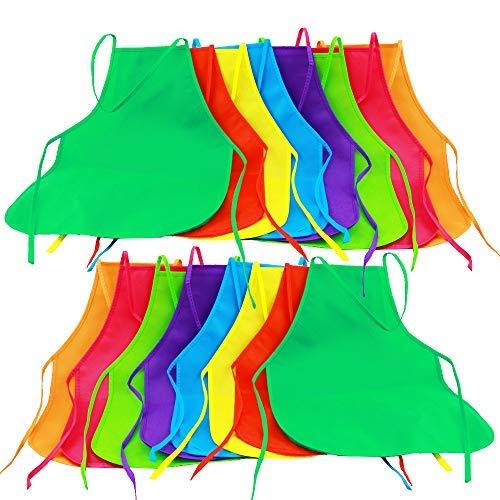 Onepine 16 pezzi 8 colori grembiuli in tessuto grembiuli per bambini grembiule per bambini per cucina, aula, attività pittorica