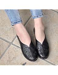 Bomba Slip On Loafer Ballerina Flats Mujeres Retro Handmake Cuero Genuino Hueco Tallado Soft Suelas Mocasin Zapatos Planos Eu Size35-40 , black , 40