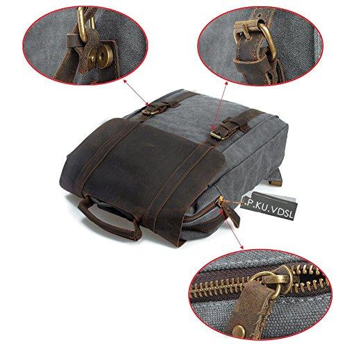 Canvas Rucksack, P.KU.VDSL 15″ Laptoprucksack Vintage Canvas und Leder Schultasche Reisetasche Daypacks Uni Backpack für Outdoor Sports Freizeit (Grau, Laptoprucksack) - 5