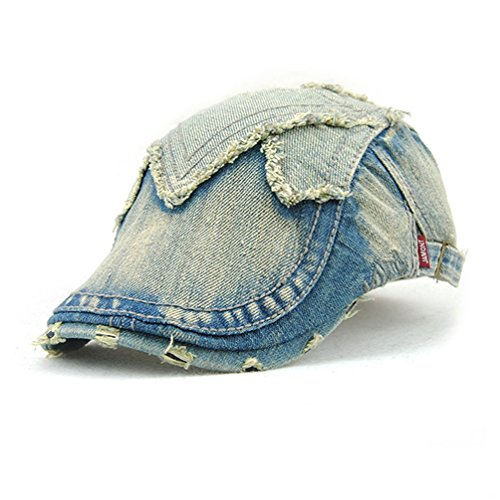 GADIEMKENSD Cabbie Hat Flat Cap Bill Fashion Cap Men Ivy Hat for Men Women Hats Summer for Men Irish Accessories Gatsby Hat Beret Blue Washed Jeans Denim Mens Hats Newsboy (20s Männer Roaring)