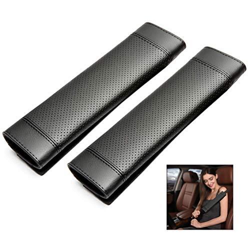 Iwobi 2 pezzi guaine per cintura di sicurezza,imbottiture cinture di sicurezza,protezioni per cintura di sicurezza in pelle pu,nero