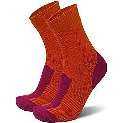 DANISH ENDURANCE Merino Wool Light Cushion Socks (EU 39-42, Naranja/Fucsia - 1 Par)
