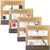 2x quschel® Pucktuch/Einschlagtuch/Spucktuch/Swaddle & Burp Blanket/Mulltuch/Mullwindel/Badetuch pink 120x120cm aus 100% Bio-Baumwolle/Bio-Musselin, GOTS zertifiziert