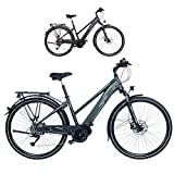 FISCHER Damen - E-Bike Trekking VIATOR 4.0i (2020), grün matt, 28 Zoll, RH 44 cm, Mittelmotor 50 Nm, 48 Volt Akku im Rahmen