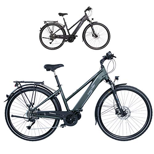 FISCHER Damen - E-Bike Trekking VIATOR 4.0i (2020), grün matt, 28 Zoll, RH 44 cm, Mittelmotor 50 Nm, 48 Volt Akku im Rahmen*
