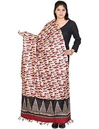 Kaarubaki Maroon Traditional Fine Tussar Silk Dupatta