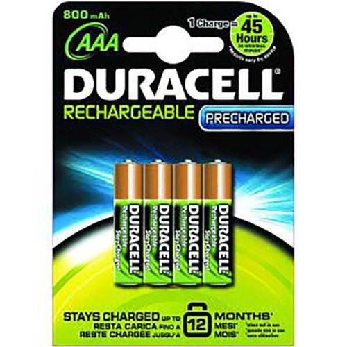 Duracell StayCharged Lot de 4 piles NiMh AAA HR03/MN2400 rechargeables 800 mAh