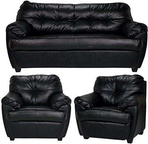 FabHomeDecor Rosabelle Five Seater Sofa 3+1+1 (Black)