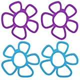 Topfuntersetzerset• Topfuntersetzer in trendigen Farben• Hitzebeständig und leicht zu reinigen• Materila: Silikon // Abmaße: ca. 16x 16x 0,5 cm (B x L x H)• Blumenmuster in blau und lila