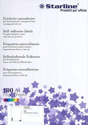 Starline Carta Adesiva Bianca A4 Etichette per STAMPANTI Ink Jet E Laser 100 Fogli